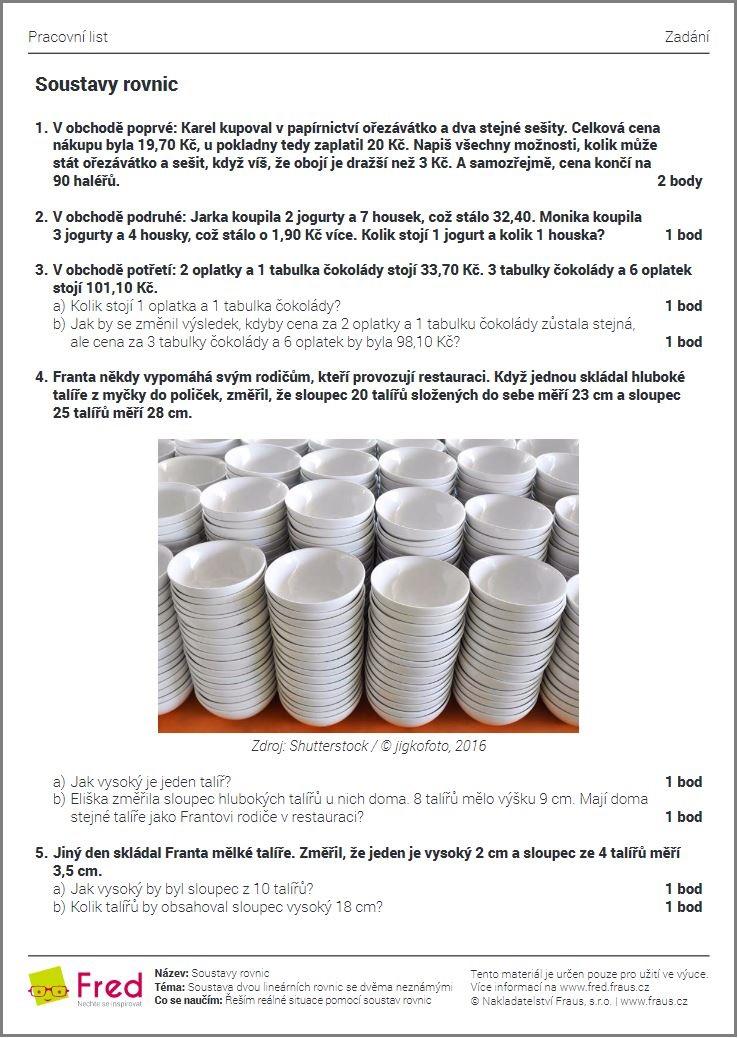Matematicke Ukoly S Praktickym Vyuzitim V Beznem Zivote Fred